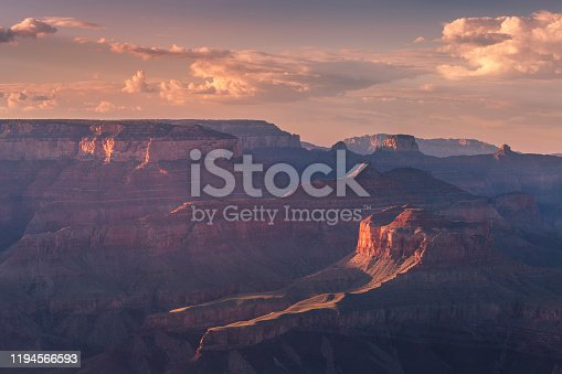 Grand Canyon south rim, dramatic landscape at sunset – Arizona, USA