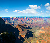 The south rim of the Grand Canyon under a nicely clouded sky