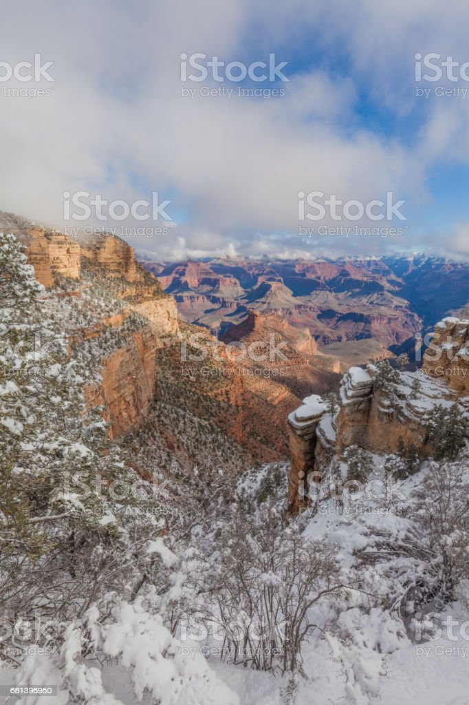 Grand Canyon South Rim Snow royalty-free stock photo