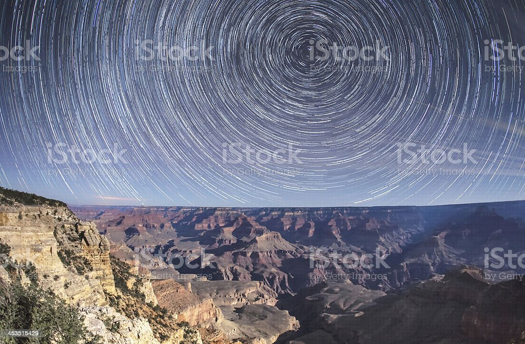 Grand canyon startrail royalty-free stock photo