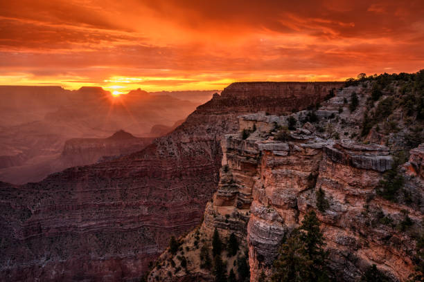 Grand Canyon Sunrise at Mather Point stock photo