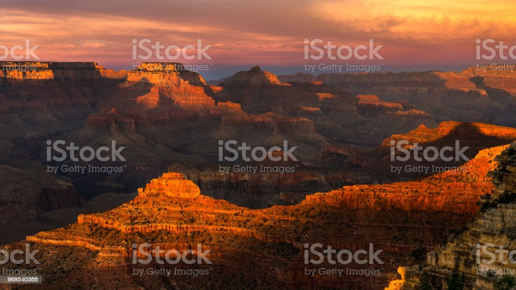 Grand Canyon Sunset at Mather Point royalty-free stock photo
