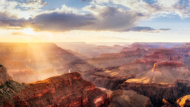 Grand Canyon Sunset from Hopi Point during summer monsoon stock photo