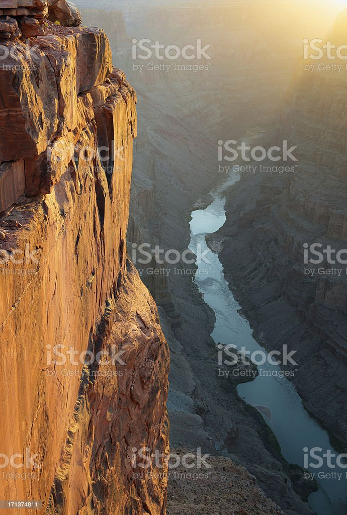 Grand Canyon Toroweap Point Morning Sunlight stock photo