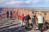 People visit Navajo Point view in Grand Canyon National Park in Arizona. 4.56 million tourists visited Grand Canyon in 2013.