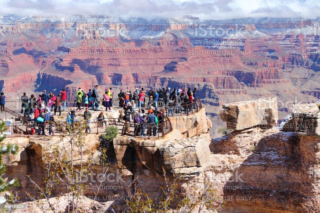 Grand Canyon tourists stock photo