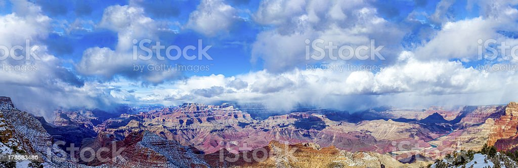 Grand Canyon under severe fog panorama stock photo