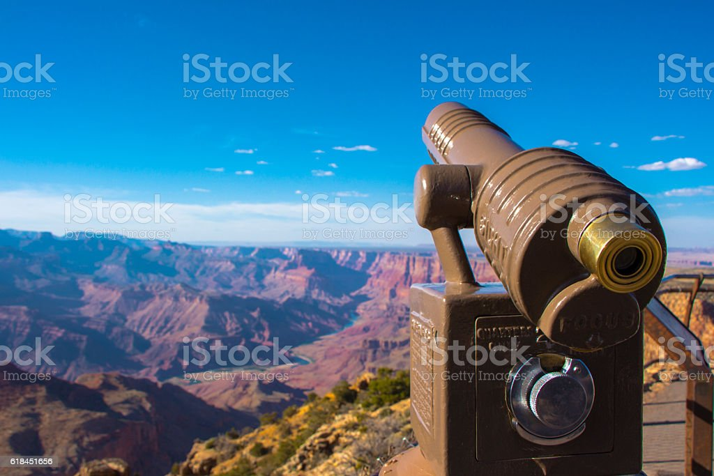 Grand Canyon view and telescope stock photo