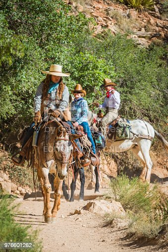 Women riding mules along the dusty Bright Angel Trail to the South Rim of the Grand Canyon, Arizona.