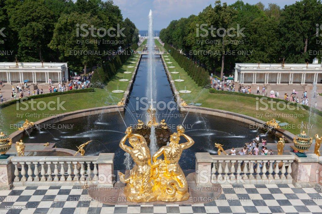 Grand cascade fountains in Peterhof, St. Petersburg - Russia stock photo