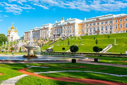 St. Petersburg, Russia - June 2019: Grand Cascade of Peterhof Palace and Lower park