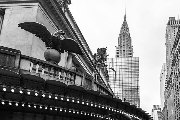 grand central and chrysler building. - chrysler building stock photos and pictures