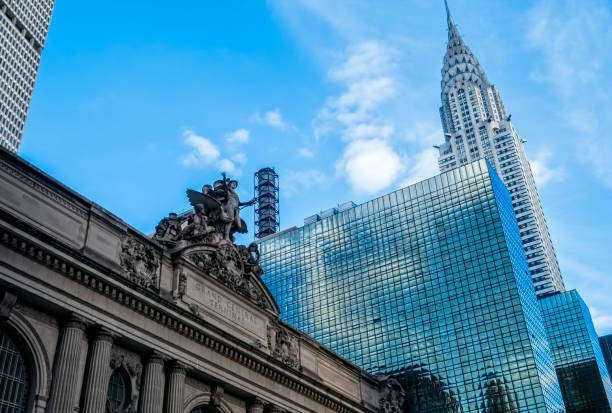 grand central and chrysler building - chrysler building stock photos and pictures