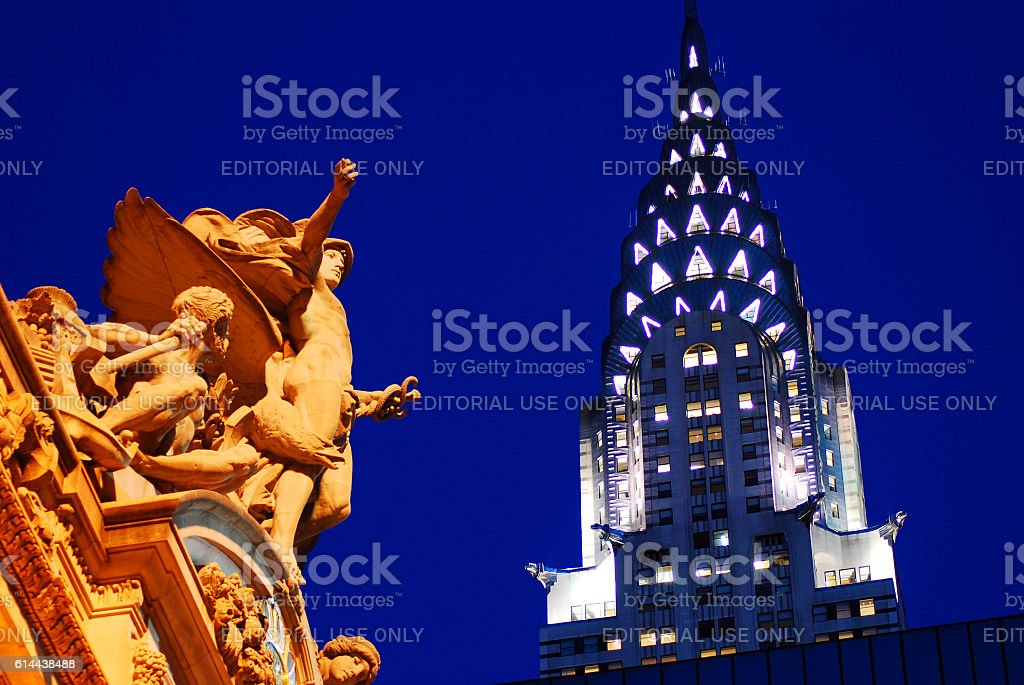 Grand Central Station and Chrysler Building, New York stock photo