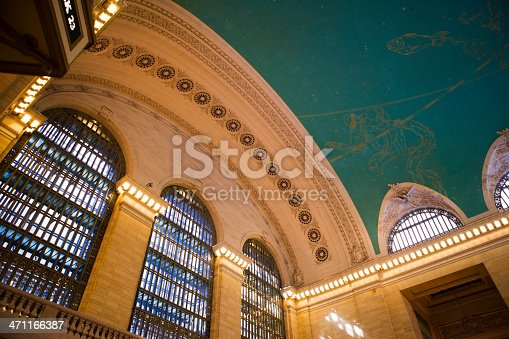 Architectural detail of the ceiling vault in Grand Central Station's Main Concourse.