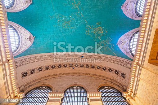 Grand Central Terminal in New York City. Interior of Main Concourse, Low Angle View