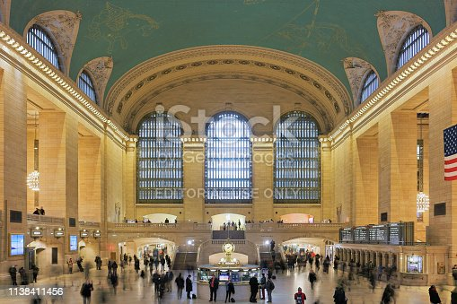 New York City, USA - February 1, 2018: The main concourse of the Grand Central Station - a National Historic Landmark (c. 1976) - is a monumental space usually filled with crowds. The Beaux-Arts building which was opened in 1913 is one of the most visited tourist attractions in New York City.