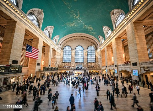 The iconic concourse of Grand Central Station in Manhattan, New York City.
