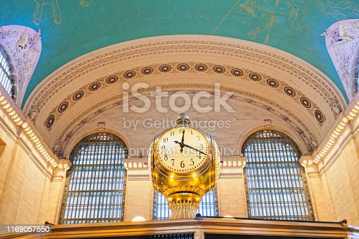 Grand Central Station in New York City. Interior of Main Concourse. Clock, Ceiling, Windows. New York City/USA - May 25, 2019