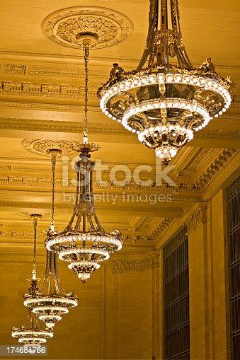 Chandeliers and ceiling detail, Vanderbilt Hall (Grand Central Terminal, Manhattan). Fine grain added.