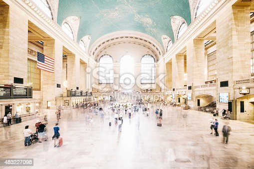 The large crowd of travelers make their way through the main concourse of Grand Central Terminal in New York City.