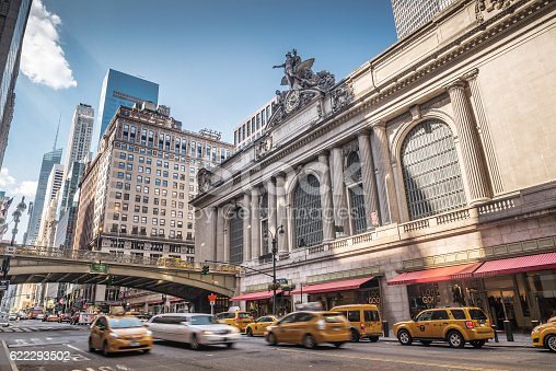 Grand Central Terminal with traffic, New York City, USA