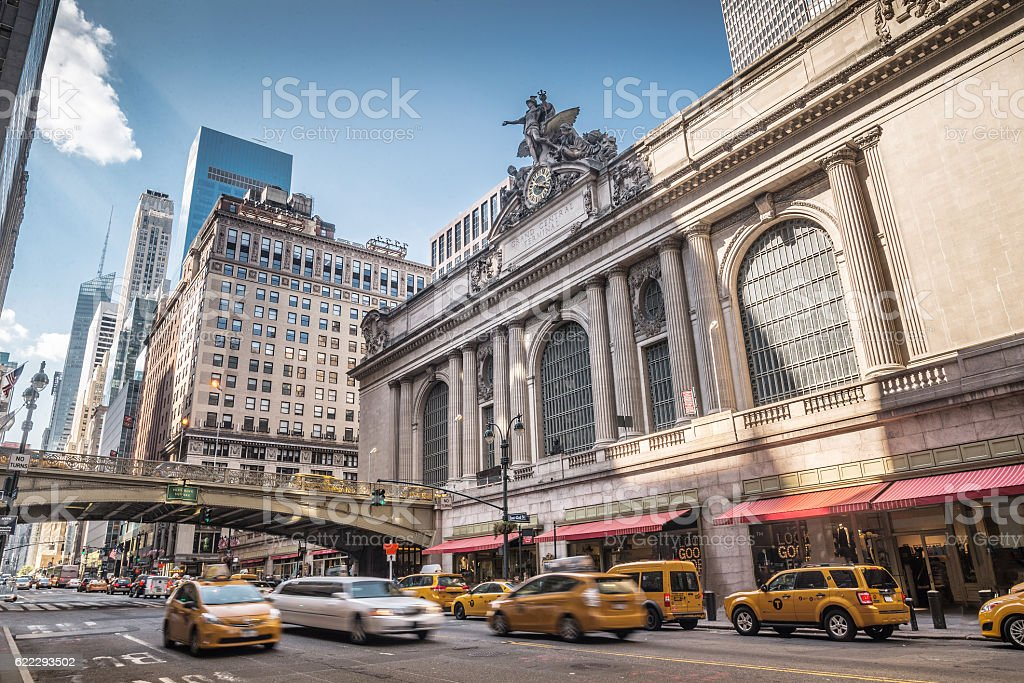 Grand Central Terminal with traffic, New York City stock photo