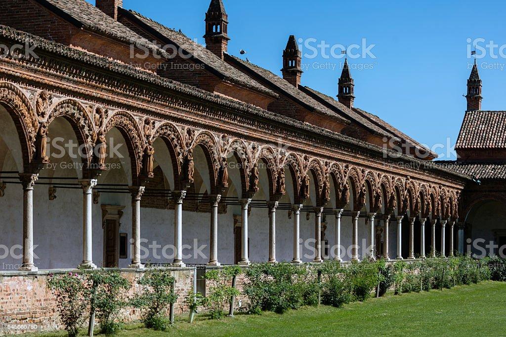 Grand Cloister of the Certosa di Pavia monastery, Italy stock photo