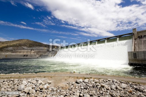 Grand Coulee Dam flowing at a very high level.