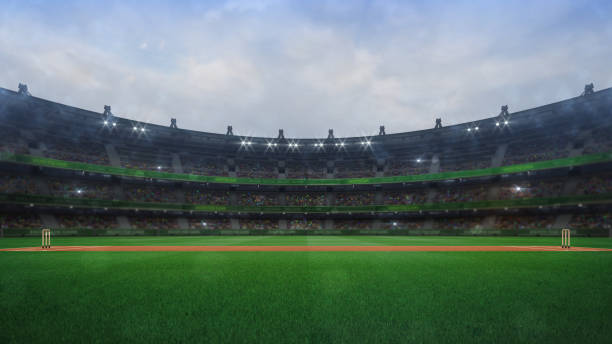 Grand cricket stadium with wooden wickets side view in daylight modern public sport building 3D render series sport of cricket stock pictures, royalty-free photos & images