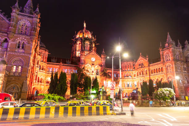 Grand CST Mumbai - Cities under COVID-19 Series stock photo