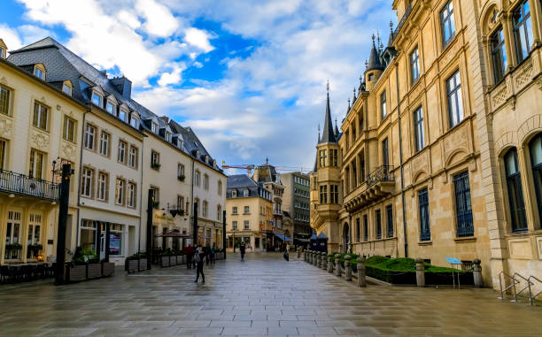 Grand Ducal Palace, residence of the Grand Duke, and people in the street in Luxembourg, UNESCO World Heritage Site stock photo