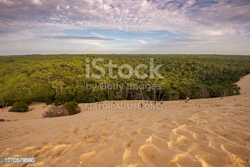 LA TESTE-DE-BUCH, FRANCE - AUGUST 12, 2017: Tourists climbing the Dune of Pilat, the tallest sand dune in Europe