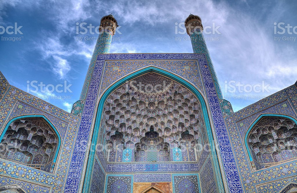 Grand entrance of the Masjid-I Imam or Shah Mosque stock photo