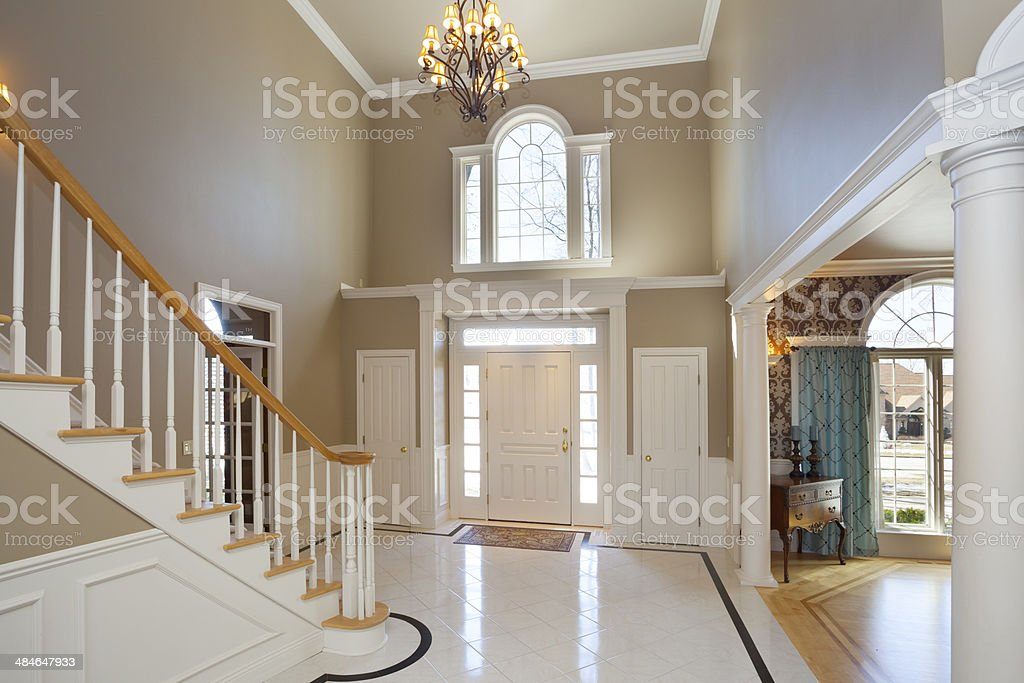 Grand Foyer in Mansion Home stock photo