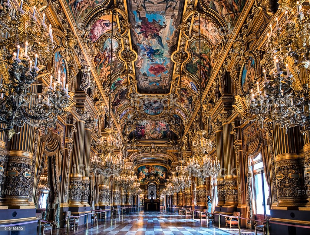 Grand Foyer in Palais Garnier, Paris stock photo