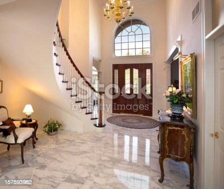Grand Foyer; Staircase, Chandelier, Marble Floor Showcase Home Interior Design