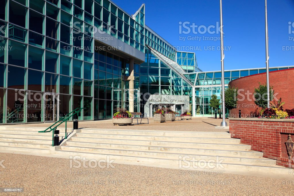 Grand Front Entrance To Medicine Hat City Hall stock photo