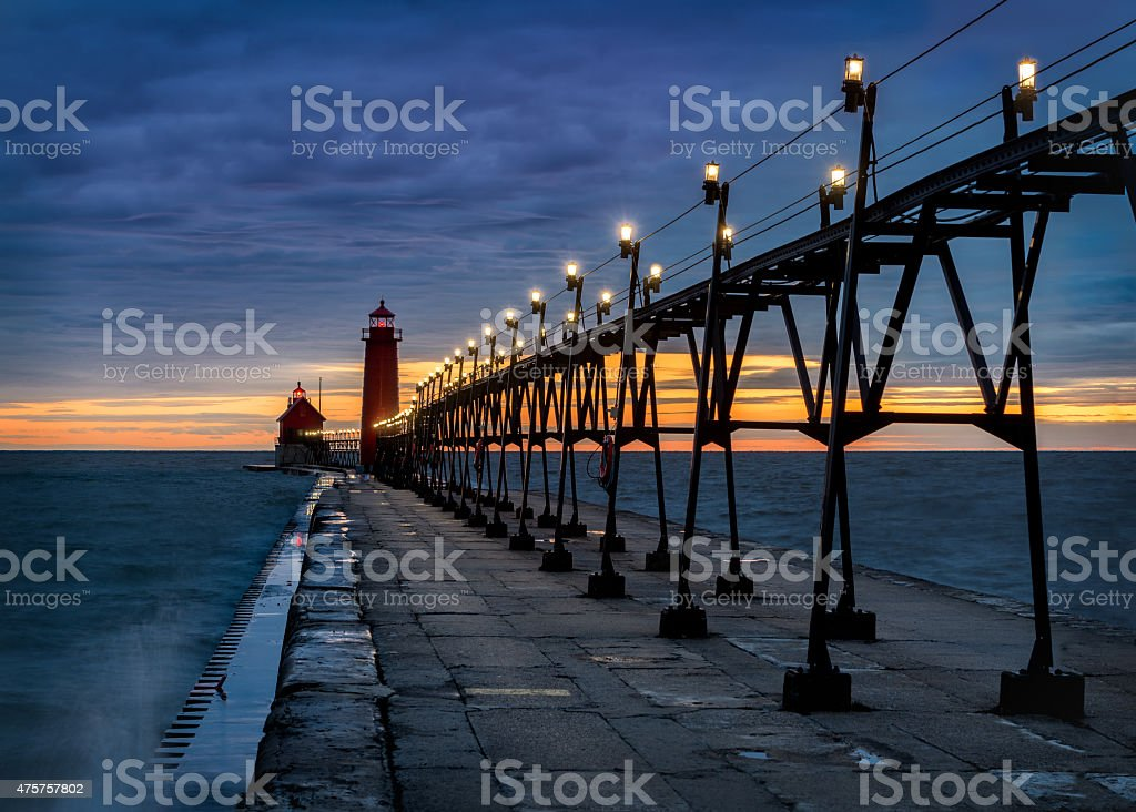 Grand Haven Lighthouse stock photo