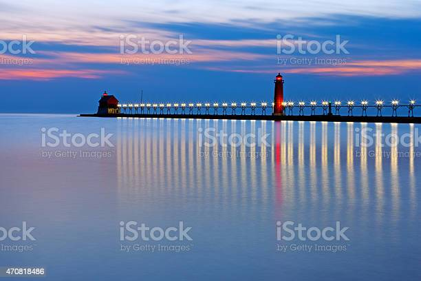 Photo of Grand Haven Pier Lighthouse at Night