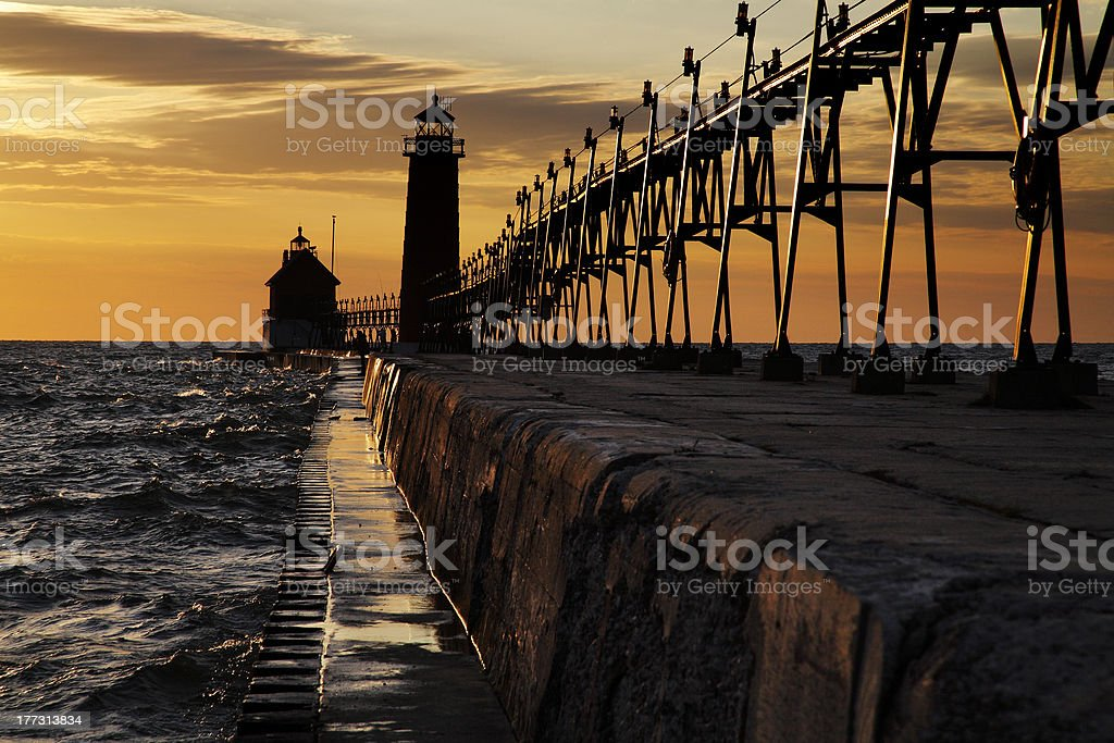 Grand Haven South Pierhead Lighthouse royalty-free stock photo
