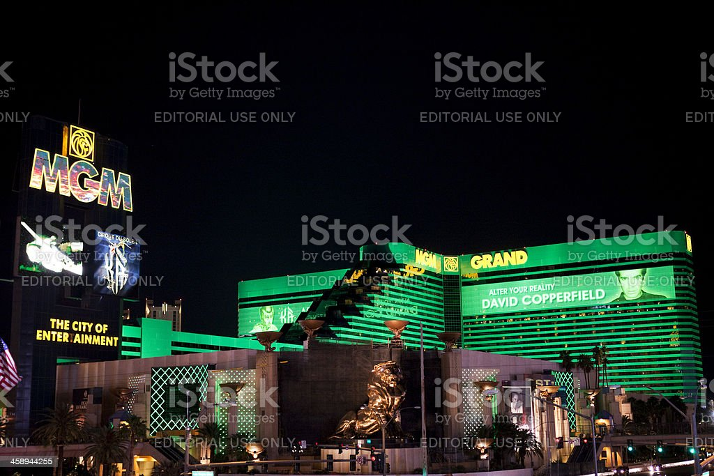 MGM Grand Hotel and Casino Nighttime stock photo