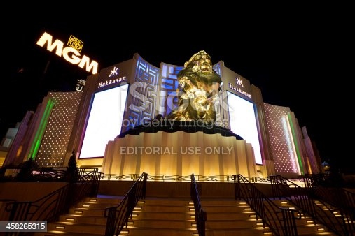 Las Vegas, Nevada, USA - October 31, 2013: MGM Grand hotel casino in Las Vegas at night. The massive bronze lion is a prominent feature of the MGM Grand Hotel and Casino complex on South Las Vegas Boulevard