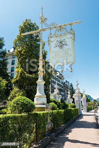 Stresa, Italy - May 24, 2016: Grand Hotel Des Iles Borromees at Lake Maggiore in Italy. It is the most famous and best 5 Star Hotel in Stresa. It is located direct on the promenade of lake Maggiore.