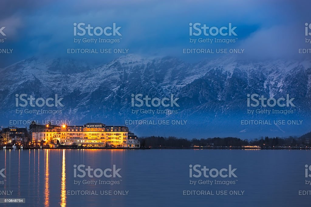 Grand Hotel in front of Steinernes Meer ('Rocky Sea') stock photo