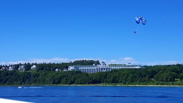 grand hotel in summer - mackinac island stock photos and pictures