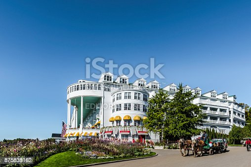 Mackinac Island, Michigan, USA - October 6, 2017: Grand Hotel on Mackinac Island, Michigan. The hotel was built in 1887 and designated as a State Historical Building.