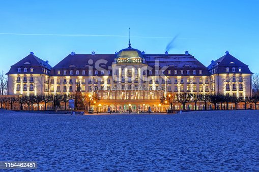 Sopot, Poland - January 1, 2016: Night scene of the historic Grand Hotel Sopot, on the Baltic Sea coast, close to Gdansk city in Poland.