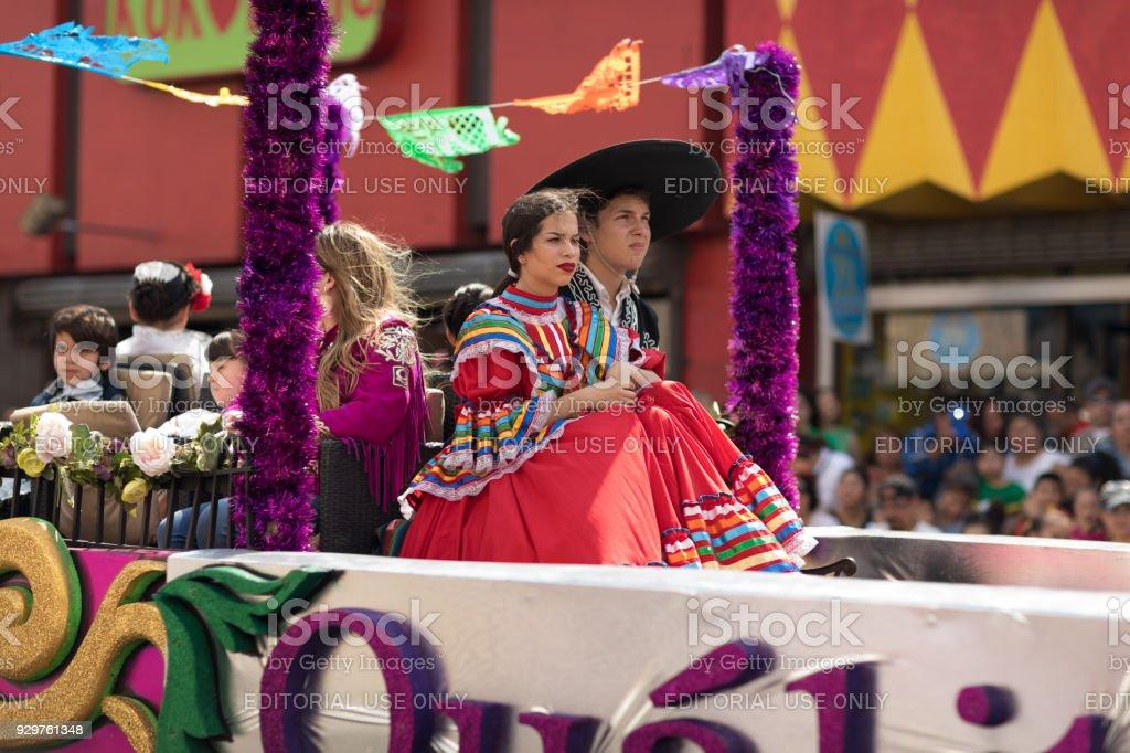 Grand International Parade USA Mexico stock photo