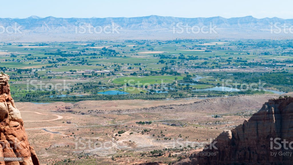 Grand Junction seen from the Colorado National Monument, Colorado stock photo